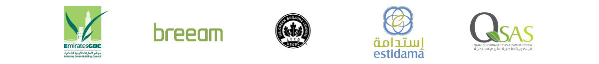 Estidama, Breeam, GBC, QSA and Dubai Green Building Council logos