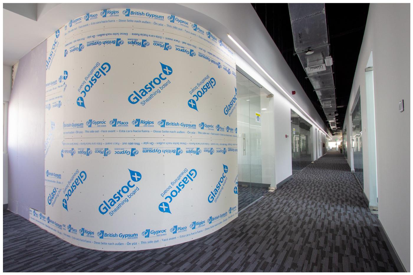Glasroc X board curved at Saint-Gobain UAE office