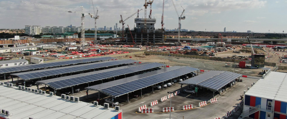 World's largest solar car part on a constructions site by Enerwhere and Six Construct