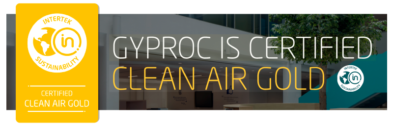 Gyproc is certified Clean Air GOLD by Intertek