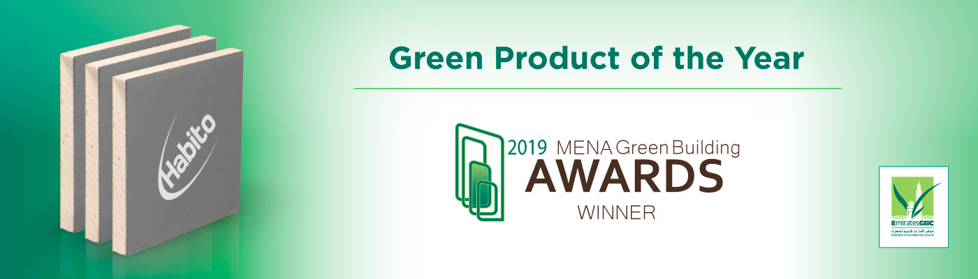 Gyproc Habito wins 'Green Product of the Year' award at the 2019 MENA Green Building Awards by EmiratesGBC