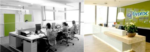 Open office and Reception of the new Gyproc ME office in Tiffany Tower, JLT, Dubai, UAE